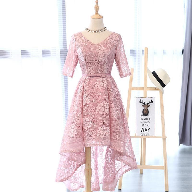 In Stock Pink Lace Half Sleeve V-Neck Robe De Soiree Courte Party Dresses Vestito Da Sera Avondjurken Plus Size Onepiece 0523A