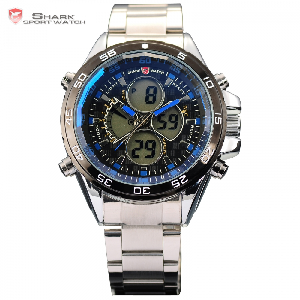 SHARK Sport Watch LCD Alarm Dual Time Date Day Stopwatch Silicone Strap Blue Montre Men Clock Quartz Digital Wrist-Watch / SH058 brand new ohsen rectangle dial digital dual time lcd mens date alarm stopwatch analog quartz sport leather wrist watch ohs034
