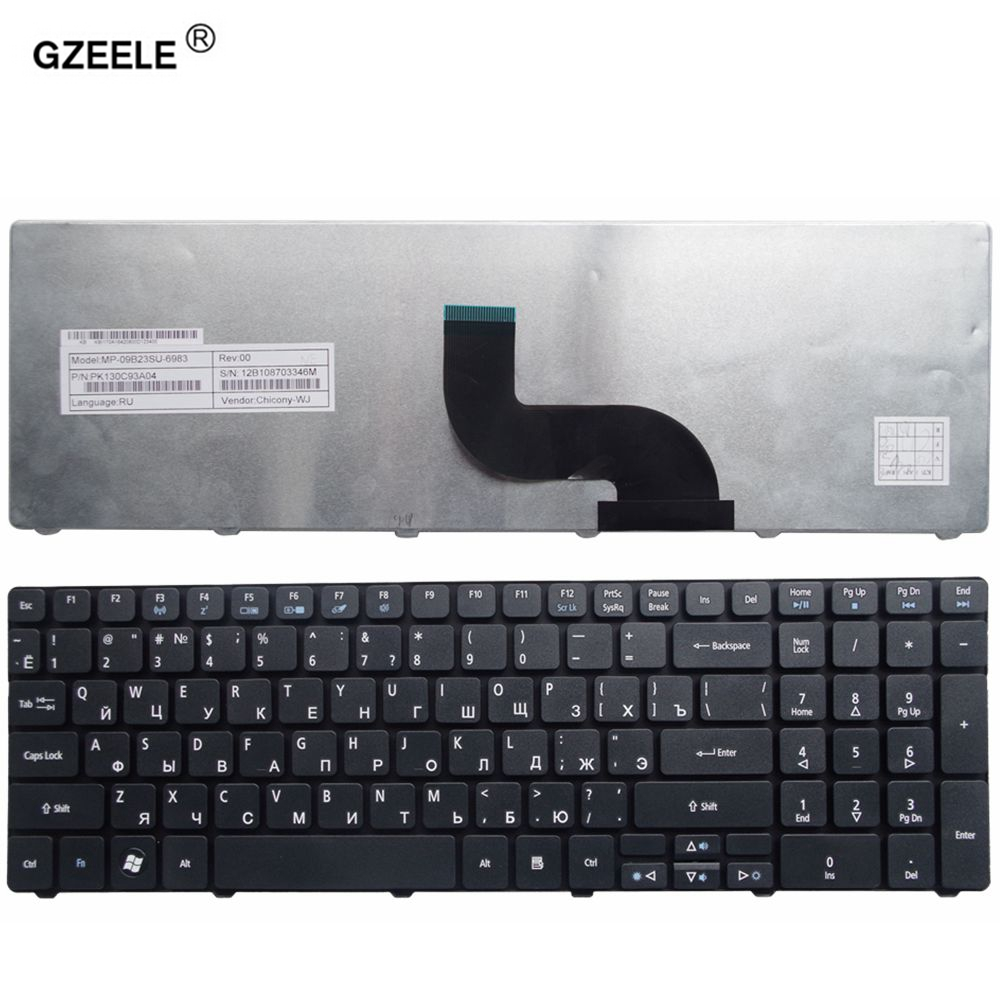 GZEELE teclado del ordenador portátil para ACER Aspire 90.4HV07.S0R V104730DS3 RU 9Z. n1H82. c0R PK130C92A04 AEZR7700010 NSK-ALC0R KB. i170A. 164 RU