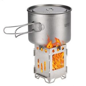 Image 2 - 2019 titane pliant Camping poêle à bois poêle en plein air bois brûlant sac à dos cuisinière en plein air gaz brûleur Camping