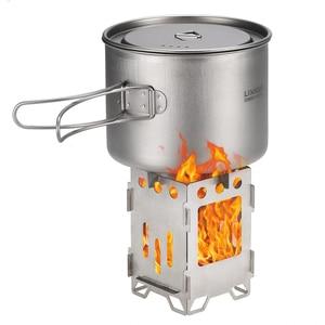 Image 2 - 2019 titanio fogón plegable para acampar estufa de madera al aire libre leña Backpacking estufa de cocina quemador de Gas al aire libre Camping