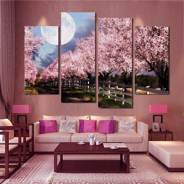 Wall Art Canvas Painting Decor 4 Panels Pink Purple Trees Landscape ...