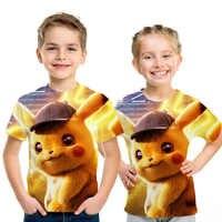 2019 novo dos desenhos animados crianças t camisas pokemon detetive pikachu 3d impresso crianças camiseta verão manga curta t camisa meninos/menina topos