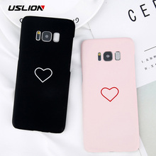 USLION Cartoon Couples Love Heart Case For Samsung Galaxy S8 S9 Plus Hard PC Phone Cover For Samsung Note 8 S8 S7 S7 Edge Cases