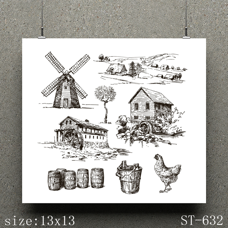 AZSG Farm watermill Clear Stamps seal for DIY Scrapbooking Card Making Photo Album Decoration Supplies in Stamps from Home Garden