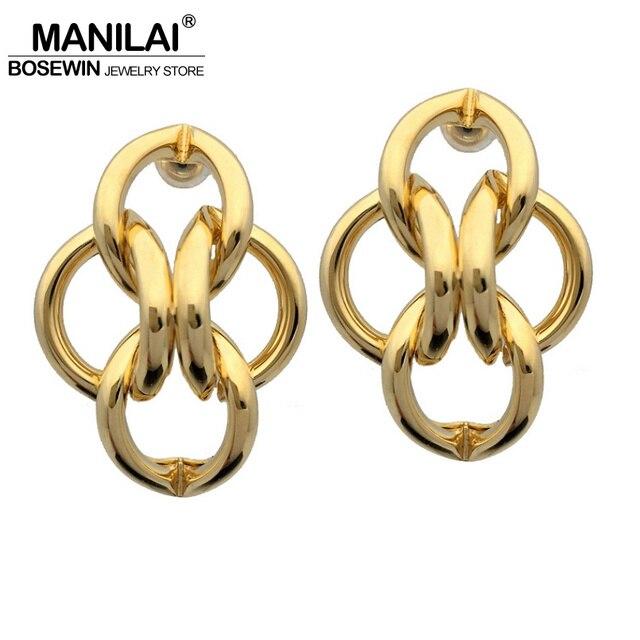MANILAI New Design Fashion Metal Geometric Stud Earrings 2018 Punk  Statement Earring Brincos Pendientes For Women Jewelry 0dcf1c4e15cf