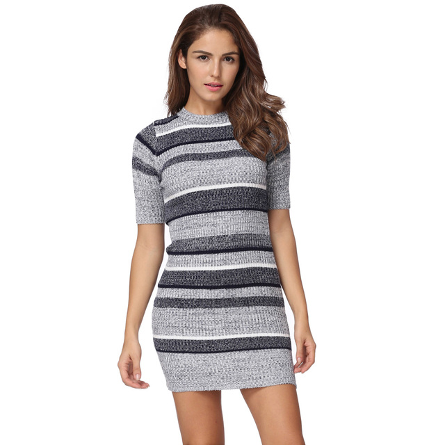 ddcc53f6d895 Women Knitted Striped Dress Autumn Fashion Bodycon Dress Half Sleeves  Ribbed Stretchy Long Sweater Jumper Dress