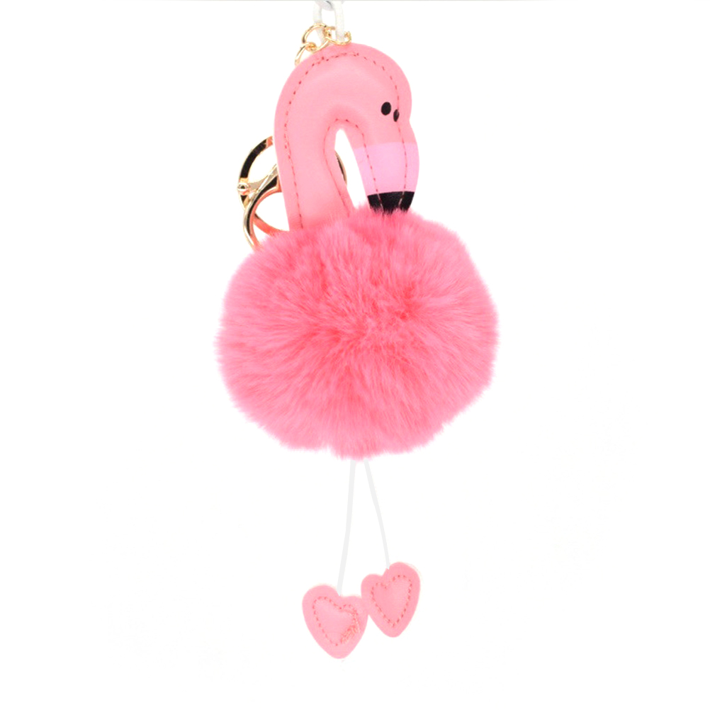 Cute Key Chains Flamingo Key Ring Fur Ball Pom Pom Keychain for Bag Cellphone Car Key Pendant straw clutch bag with pom pom