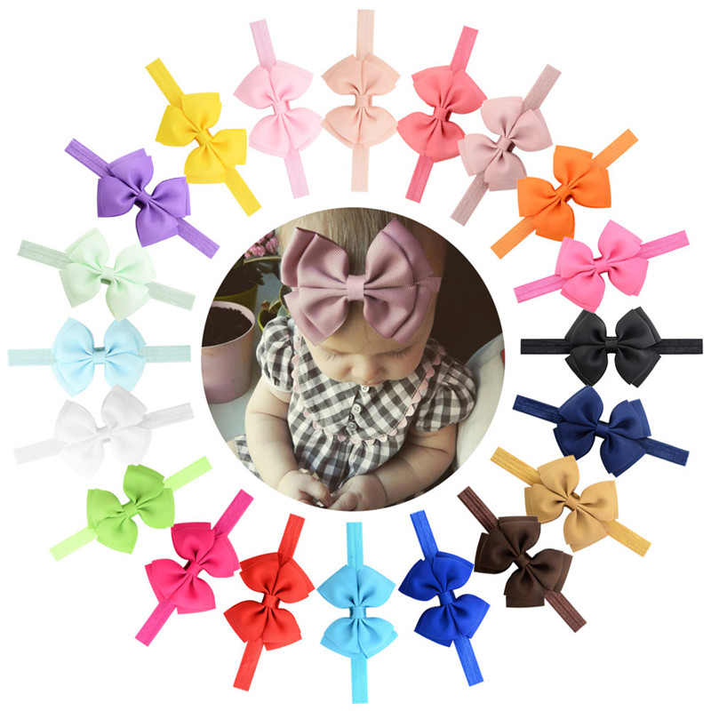 Solid Cute Ribbon Bow Tie Kids Headbands Bowknot Baby Elastic Hair Bands Girls Head Band New Born Children Hair Accessories