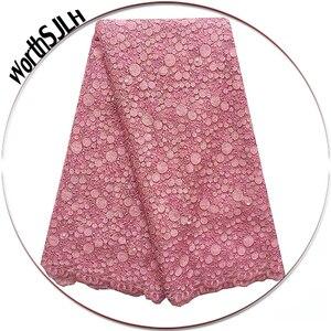 Кружевная ткань, розовая швейцарская вуаль, тюль, кружевная ткань для свадьбы с бусинами и камнями, 2018