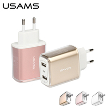 USAMS Fast Travel Charger Adapter Dual USB 5V 3.4A Universal Charger for phone US EU Charger USB Wall Charger for iPhone ipad