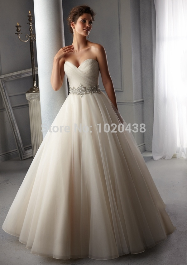 Gorgeous Strapless Backless Ivory Waist Beaded Tulle Sweep Train Bridal Gown Vestido De Noiva Custom Made new   bridesmaid     dress