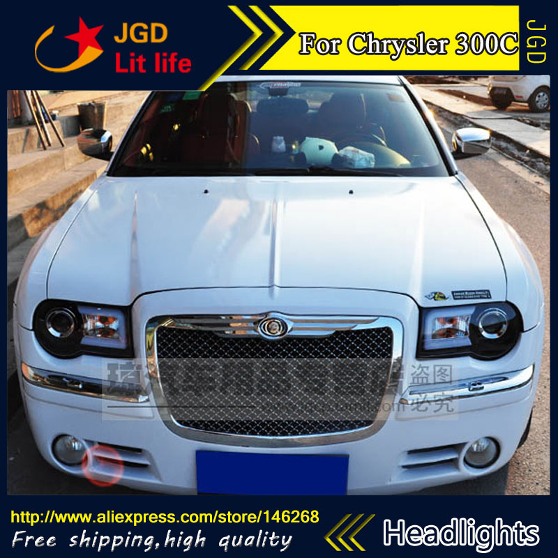 Free shipping ! Car styling LED HID Rio LED headlights Head Lamp case for Chrysler 300C Bi-Xenon Lens low beam