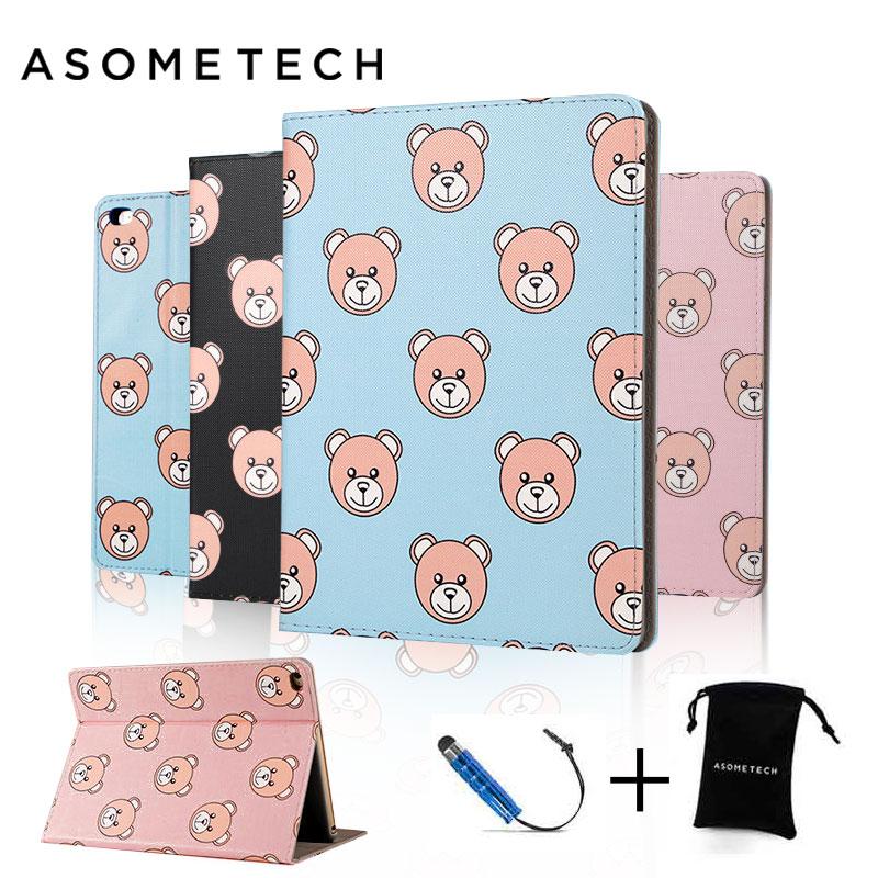 Mini Cute Bear Case fundas for ipad Mini 1/2/3 Air 1 new ipad shockproof PU leather Lovely Flip Sleep Covers for ipad pro 9.7