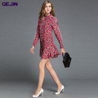 Frauen shirt kleider Hohe Qualität Druck liebe langarm Bluse echt seide Tops Shirt kleid Plus größe XXL Rot vestidos