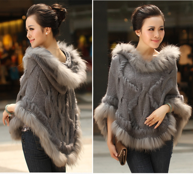 Fahion Luxury Women's Ekte Real Rabbit Fur Raccoon Fur Trimming Strikkede Pullovers Stole Cape Poncho Wraps Sweatercoat