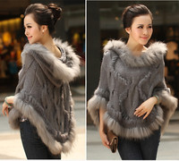 Fahion Luxury Women's Genuine Real Rabbit Fur Raccoon Fur Trimming Knitted pullovers Stole Cape Poncho Wraps Sweatercoat
