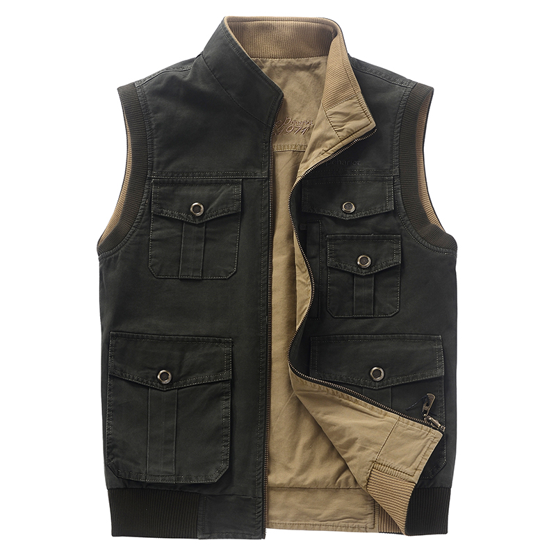 L-5XL Outdoor cotton vest men shooting hiking hunting vest both size wear multi-pockets stand collar army gilet homme waistcoat objective pet workbook with answers