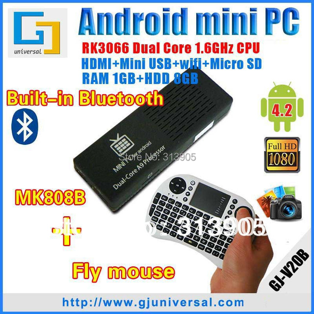 1lot=1pc wireless keyboard+MK808B bluetooth android mini pc new Stable RK3066 mini pc dual core Android HDMI Dongle android 4 2