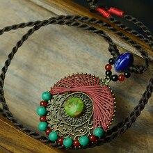 Длинное этническое ожерелье макси для женщин, зеленый основной камень, ручная работа, Бронзовые Подвески, синий керамический красный камень, винтажные женские ювелирные изделия