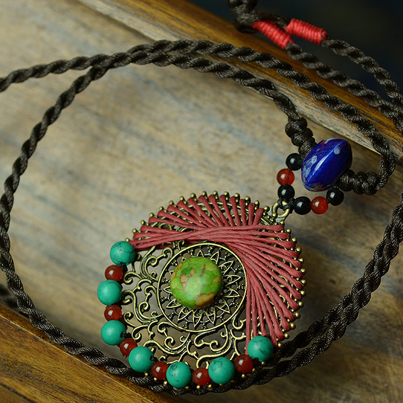 long maxi ethnic necklace for women green main stone handmade bronze pendants blue ceramic red stone drop vintage femme jewelry