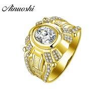 AINUOSHI Luxury 14K Solid Yellow Gold Men Ring Watch Shape Wedding Band 2CT Oval SONA Diamond Men Band Wide Wedding Ring Jewelry
