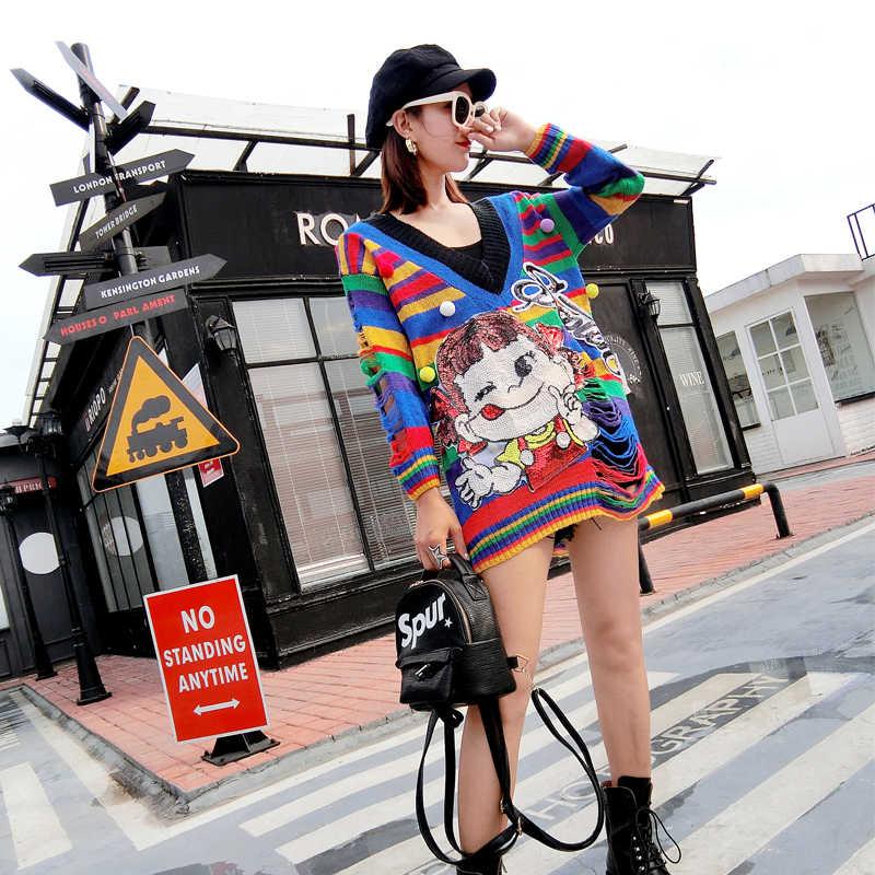 MUMUZI สูงสตรีทสายรุ้งลายเสื้อกันหนาววีคอยาวลายการ์ตูนน่ารักลายประดับด้วยเลื่อมเสื้อกันหนาว Ripped ถักเสื้อ