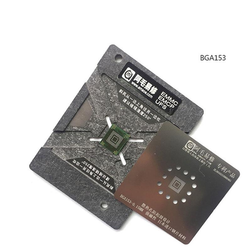 0.15MM EMMC EMCP UFS BGA Reballing Stencil Kit BGA153 BGA162 BGA169 BGA254 Reballing Jig Platform With Plate And Holder