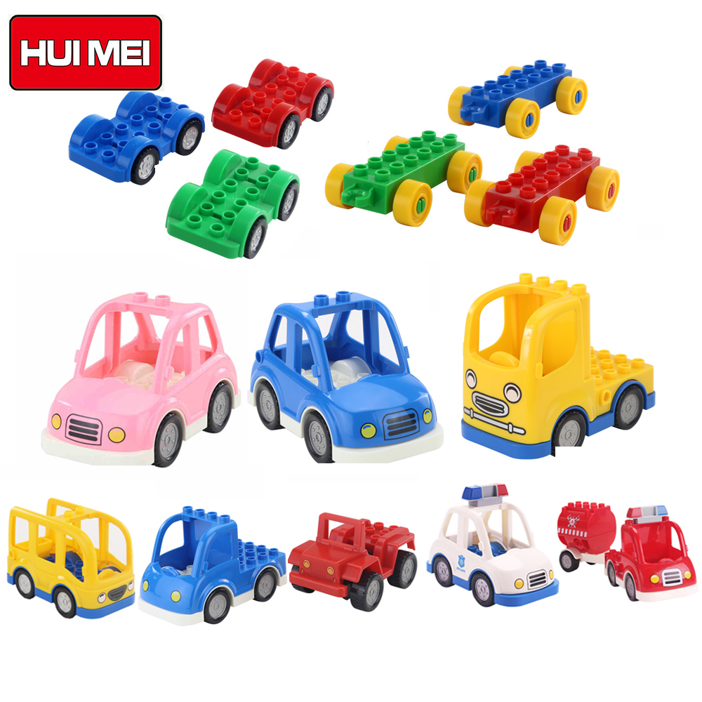 HUIMEI City Series Transport Building Blocks Police Car Truck Self-locking Bricks baby educational Toys compatible with duplo city series police car motorcycle building blocks policeman models toys for children boy gifts compatible with legoeinglys 26014