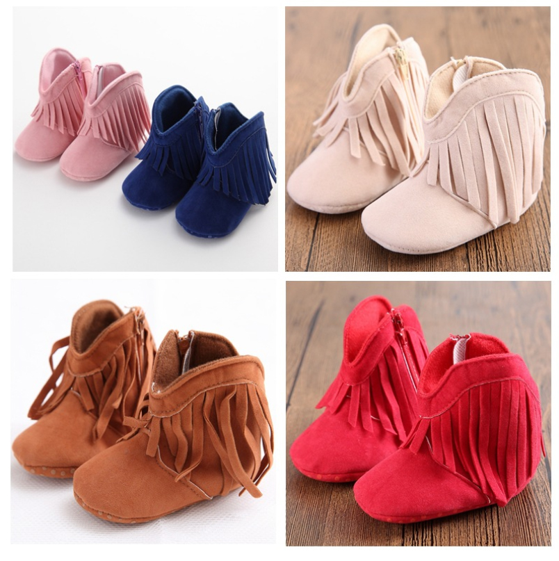 Newborn Infant Baby Boy Girl Soft Sole Boots Tassels Moccasins Crib Shoes 0-18M