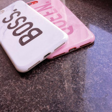 Queen & Boss Couples Phone Case For iphone 7 Coque Glossy Marble Case Soft Silicon Cover For iphoneX 6 8 7Plus