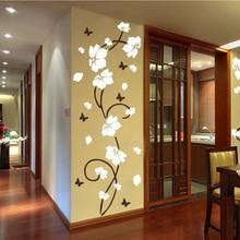 Vinyl Wall Sticker Vine Tree Flower Art Decorate Mural Sticker Butterfly Decal