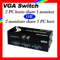 HOT MAITUO MT-15-2CH video VGA share switch 2 monitors share 1 PC host/2 PC hosts share 1 monitor not synchronous free shipping