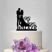 2017 Real Rushed Personalized Acrylic Happy Wedding Wedding Cake Topper Wedding Stand Wedding Decoration Custom Topper