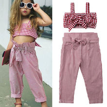 Summer 2 Pieces Little Girls Outfits Set Sleeveless Pink Plaid Bows Crop Tops+Plaid Long Pants Kids Baby Girl Clothes