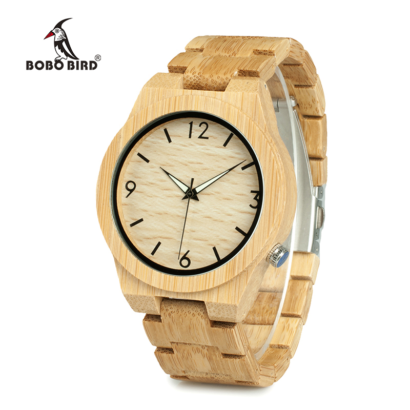 BOBO BIRD WD27 Bamboo Wooden Watch for Men Unique Lug Design Top Brand Luxury Quartz Wood Band Night Green Pointer Wrist Watches bobo bird brand new wood sunglasses with wood box polarized for men and women beech wooden sun glasses cool oculos 2017