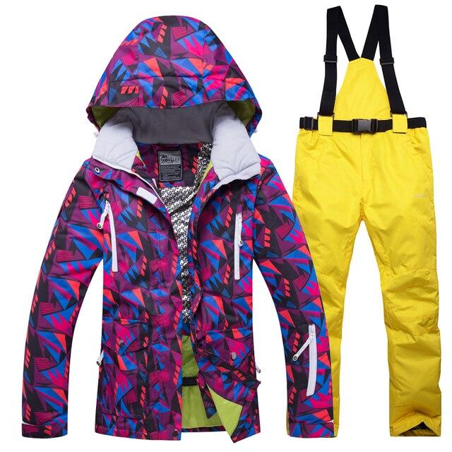 Лыжный костюм женский 2018 новый зимний-30 Теплая Лыжная куртка Сноубординг костюмы водостойкий 10 К дышащий Снег Открытый горный лыжный комплект