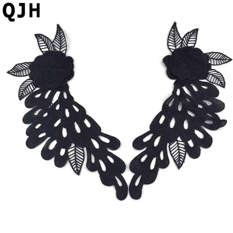 1 par 2 PS negro bordado Encaje applique Encaje TRIM vestido 30 11 cm  exquisito Encaje DIY Costura ropa Accesorios 8f2b286aff73