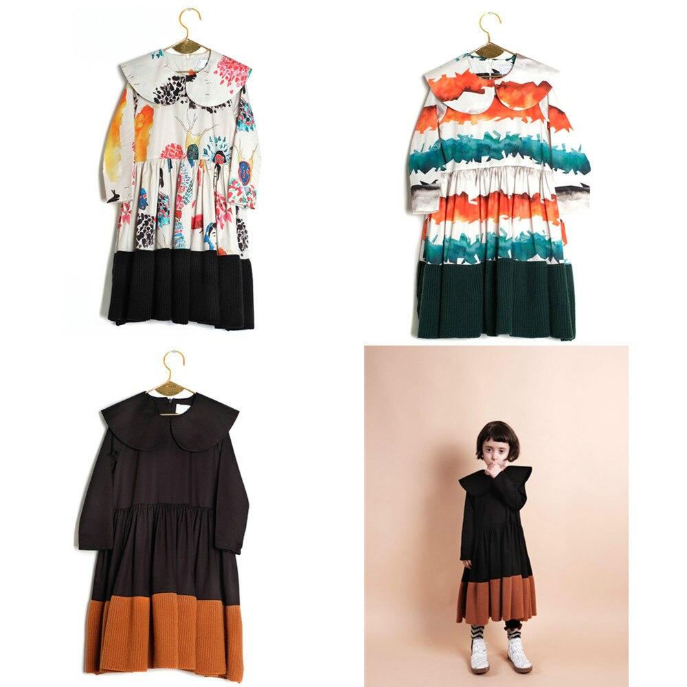 Presale otoño Lobo Rita Graffiti imprimir vestido niños de manga larga princesa Kintted Patchwork vestidos ropa de niña Bobo Choses
