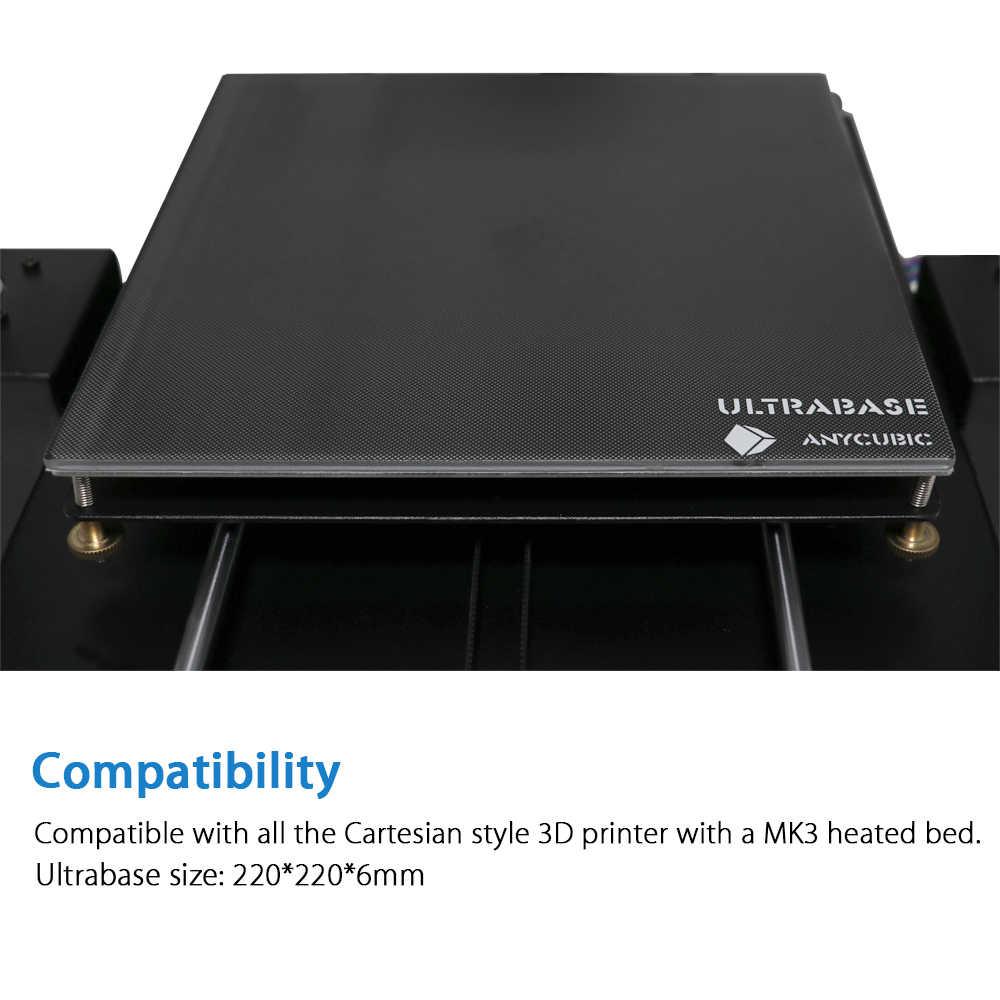 Plate-forme d'imprimante 3D Ultrabase ANYCUBIC avec plaque de verre de Surface de construction de lit chauffé 220x220x3mm Compatible pour imprimante 3D MK2 MK3