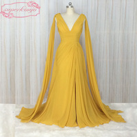 SuperKimJo Real Images Chiffon Bridesmaid Dresses Long A Line Cheap V Neck Wedding Party Dresses Vestido