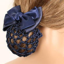 Satin Bow Barrette Stylish Floral Lace Official Lady Hair Clip Cover Net Tulle Bowknot Bun Snood Women Hairgrip Headband Hairnet stylish bow embellished tiny floral pattern light blue headband for girls