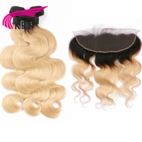KRN 1B 613 Brazilian Remy Hair 3 Pieces Bundles With 13*4 Ear To Ear Lace Frontal Closure Body Wave Human Hair Extensions