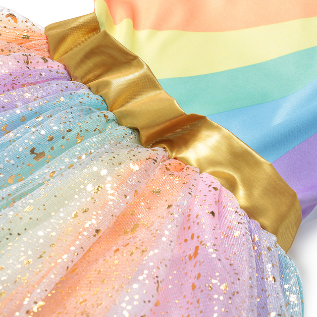 Girls Rainbow Unicorn Dress Tutu Princess Lace Dresses