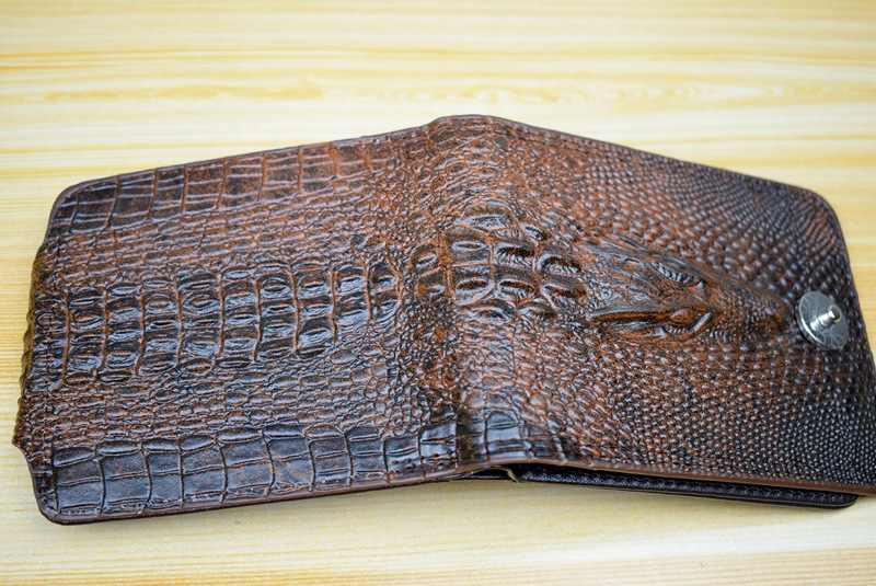 محفظة رجالي جلد طبيعي قصيرة محفظة بيليتيرا هومبر للرجال محافظ كلاسيكية نمط كارتيرا هومبر تمساح أليغاتو بورتيمون