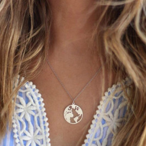 New World Map Pendant Necklaces Earth Day Wanderlust Personalized jewelry Outdoor metal fashion Necklace Gift for women man(China)