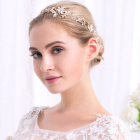 Elegant Luxurious Gold Silver Plated Stretchable Crystal Pearl Headband Bridal Hair Accessories Wedding Hairband