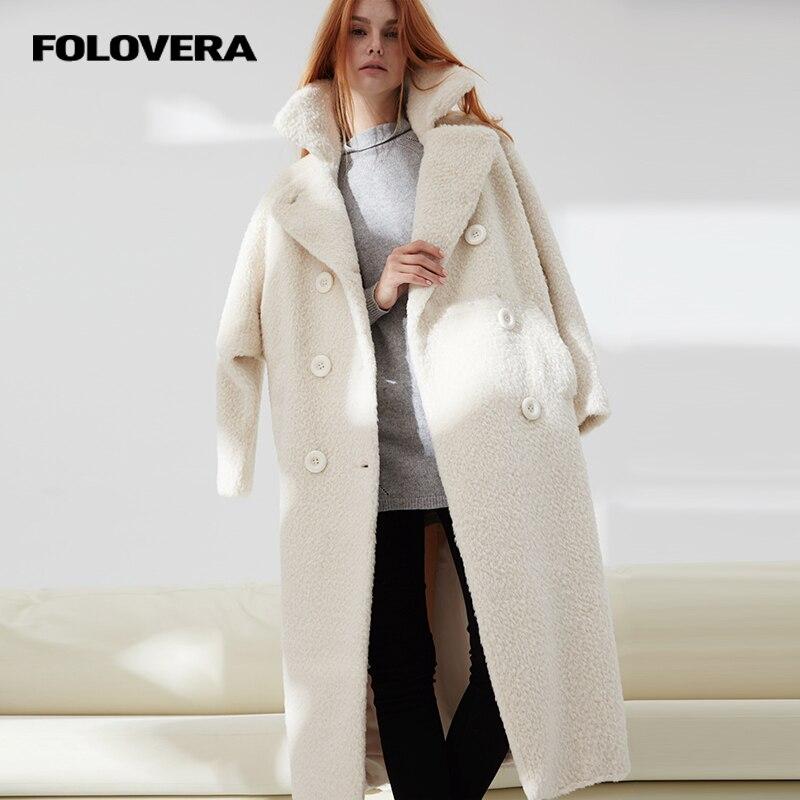 folovera 2017 new winter white alpaca coat turn down. Black Bedroom Furniture Sets. Home Design Ideas