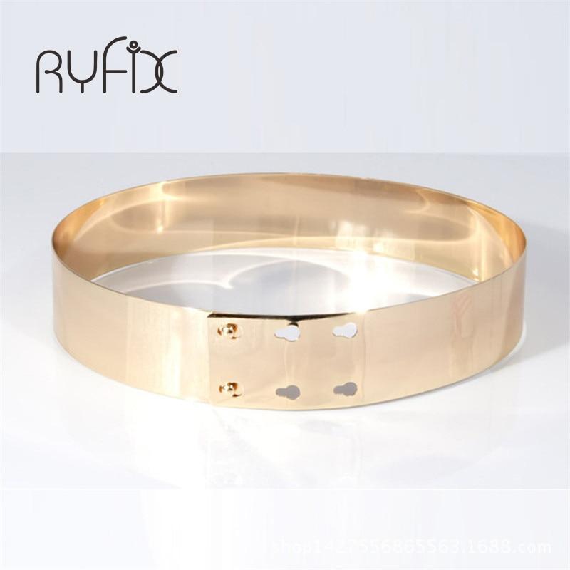 Anchura 4.5 cm Cinturón de Espejo de Metal Moda Mujeres de Alta Calidad Cintura Cinturón de Oro Cummerbunds Estilo Europeo Cinturón Cinturón Cinturón BL17