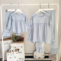 Family Matching Clothes Pajamas 2018 Spring Summer Cotton Mother And Daughter Pyjamas Two Pieces Kids Girls